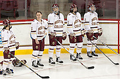 Kristyn Capizzano (BC - 7), Alex Carpenter (BC - 5), Megan Keller (BC - 4), Serena Sommerfield (BC - 3), Grace Bizal (BC - 2) - The Boston College Eagles defeated the visiting Providence College Friars 7-1 on Friday, February 19, 2016, at Kelley Rink in Conte Forum in Boston, Massachusetts.