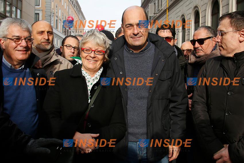 Annamaria Furlan e Nicola Zingaretti <br /> Rome February 9th 2019. Demonstration of the three Italian trade unions, CGIL, CISL, UIL.<br /> Foto Samantha Zucchi Insidefoto