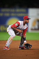 Williamsport Crosscutters third baseman Luis Espiritu, Jr. (27) during a game against the Batavia Muckdogs on August 28, 2015 at Dwyer Stadium in Batavia, New York.  Batavia defeated Williamsport 6-0.  (Mike Janes/Four Seam Images)