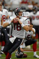 Aug 18, 2007; Glendale, AZ, USA; Houston Texans quarterback Sage Rosenfels (18) against the Arizona Cardinals at University of Phoenix Stadium. Mandatory Credit: Mark J. Rebilas-US PRESSWIRE Copyright © 2007 Mark J. Rebilas