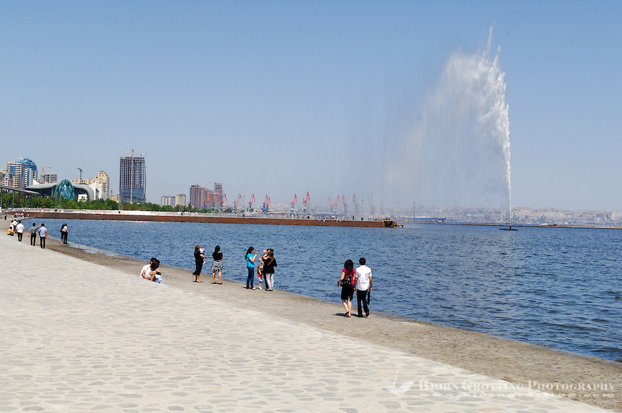 Azerbaijan, Baku. Baku Boulevard is a promenade that runs parallel to Baku's seafront.