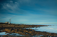 Edinburgh and Cockenzie Power Station from Port Seton, East Lothian