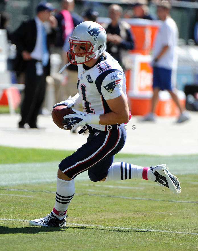 JULIAN EDELMAN, of the New England Patriots, in action during the Patriots game against the Oakland Raiders on October 2, 2011 at O.co Stadium in Oakland, CA. The Patriots beat the Raiders 31-19.