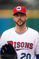 Buffalo Bisons relief pitcher Ryan Tepera (20) walks to the dugout after a game against the Louisville Bats on June 23, 2016 at Coca-Cola Field in Buffalo, New York.  Buffalo defeated Louisville 9-6.  (Mike Janes/Four Seam Images)