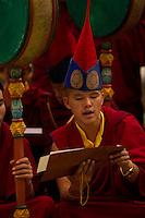 Buddhist monk chanting, Sikkim, India
