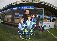 Match day  Mascots pose with Crawley Town Manager Dermot Drummy ahead of the Sky Bet League 2 match between Wycombe Wanderers and Crawley Town at Adams Park, High Wycombe, England on 25 February 2017. Photo by Andy Rowland / PRiME Media Images.