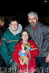 Sean Óg, Mark and Mia O'Leary Gneeveguilla with their dog Biscuit at the Darkness into Light walk at Killarney Racecourse Saturday morning
