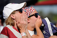 Fans watch as Japan ties the game late in the second half of the finals of the 2011 FIFA Women's World Cup prior to a Women's Professional Soccer (WPS) match between Sky Blue FC and the Western New York Flash at Yurcak Field in Piscataway, NJ, on July 17, 2011.