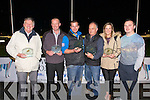 Receiving their awards at the Kingdom Greyhound Stadium on Saturday night from John O'Keeffe, Chairman of the Owners and Breeders and Murt Murphy. l-r Tony Griffin, Private Trainer of the Year, Donal G. O'Mahony, Owner of the year, Patrick O'Connor, Public Trainer of the Year, Batt O'Shea, Owner of Dog of the Year Lanana Zig, Niamh McKenna and Ally O'Connor, Owners of Bitch of the Year, Penny Lane Lodge