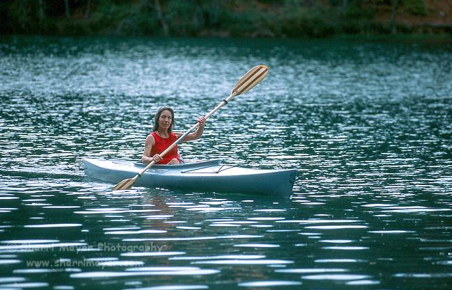 Woman paddling on Deer Creek Reservoir