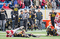 Arkansas Democrat-Gazette/Jeff Gammons - 11/29/19 - University of Missouri players on the sideline react to a huge catch by wide receiver Tauskie Dove (86) during the Battle Line Rivalry game against the University of Arkansas Razorbacks at War Memorial Stadium in Little Rock on Friday November 29th 2019. To view more photos visit arkansasonline.com/1130uamiz/
