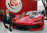 "December 13, 2016, Tokyo, Japan - Italian sports car maker Ferrari senior vice president and chief designer Fravio Manzoni displays the new vehicle ""Ferrari J50"" at the world premier in Tokyo on Tuesday, December 13, 2016 to celebrate Ferrari's 50th anniversary in Japan. Ferrari J50 has 3.9-litter V8 turbo charged engine to drive roadster body.  (Photo by Yoshio Tsunoda/AFLO) LWX -ytd-"