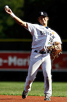 15 July 2011: Maxime Lefevre of the Rouen Huskies throws to first base during the 2011 Challenge de France match won 6-5 by the Rouen Huskies over the Senart Templiers at Stade Pierre Rolland, in Rouen, France.