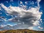 Stokes Castle in the Toyabe Range, clouds, Austin, Nevada, in the middle of the state along US 50, Loneliest Highway in America