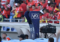 CALI - COLOMBIA, 15-02-2020: VAR durante el partido entre América de Cali y Deportivo Independiente Medellín por la final vuelta, de la Liga Águila II 2018 jugado en el estadio Pascual Guerrero de la ciudad de Cali. / VAR during match for the for the date 5 as part of BetPlay DIMAYOR League I 2020 between America de Cali and Deportivo Independiente Medellin played at Pascual Guerrero stadium in Cali. Photo: VizzorImage / Gabriel Aponte / Staff