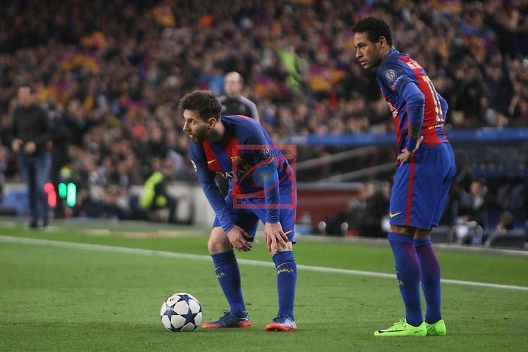 UEFA Champions League 2016/2017.<br /> Round of 16 2nd leg<br /> FC Barcelona vs Paris Saint-Germain: 6-1.<br /> Lionel Messi &amp; Neymar Jr.