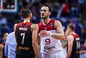 5th September 2017, Fenerbahce Arena, Istanbul, Turkey; FIBA Eurobasket Group D; Turkey versus Belgium; Center Semih Erden of Turkey welcomes at the end of the match with Power Forward Axel Hervelle #7 of Belgium