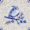 Bird Delft, a hand-cut cut jewel glass mosaic, shown in  Opal Sea Glass™ with jewel glass Lapis Lazuli, Iolite, and Covelite, is part of the Sea Glass™ Collection by New Ravenna.