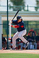 GCL Red Sox Dean Miller (52) bats during a Gulf Coast League game against the GCL Pirates on August 1, 2019 at Pirate City in Bradenton, Florida.  GCL Red Sox defeated the GCL Pirates 11-3.  (Mike Janes/Four Seam Images)