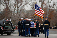 A joint service honor guard carries the casket of former US President George H.W. Bush out of the US Capitol in Washington, DC, USA, 05 December 2018. George H.W. Bush, the 41st President of the United States (1989-1993), died at the age of 94 on 30 November 2018 at his home in Texas.<br /> Credit: Shawn Thew / Pool via CNP / MediaPunch
