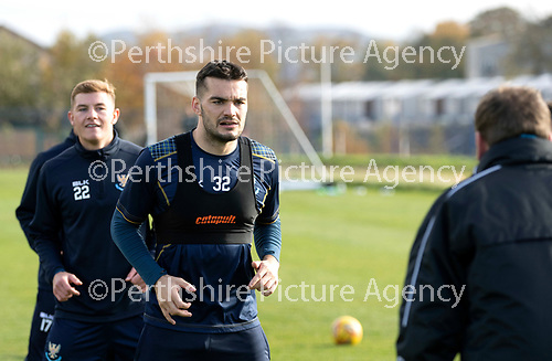St Johnstone Training…19.10.18   McDiarmid Park, Perth<br />Tony Watt and Callum Hendry listen to instructions from Manager Tommy Wright during training this morning ahead of tomorrow's game at Motherwell<br />Picture by Graeme Hart.<br />Copyright Perthshire Picture Agency<br />Tel: 01738 623350  Mobile: 07990 594431