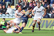 10th September 2017, Sixways Stadium, Worcester, England; Aviva Premiership Rugby, Worcester Warriors versus Wasps; Jonny Arr of Worcester Warriors is tackles by two Wasps players