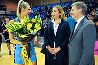 MVP Jane Watson jokes with NZ prime minister Bill English (right) and his wife Mary after the ANZ Premiership netball match between the Central Pulse and Northern Stars at Te Rauparaha Arena in Wellington, New Zealand on Wednesday, 24 May 2017. Photo: Dave Lintott / lintottphoto.co.nz