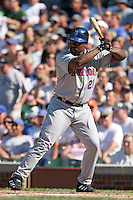 New York Mets first baseman Carlos Delgado #21 during a game against the Chicago Cubs at Wrigley Field on July 15, 2006 in Chicago, Illinois.  (Mike Janes/Four Seam Images)
