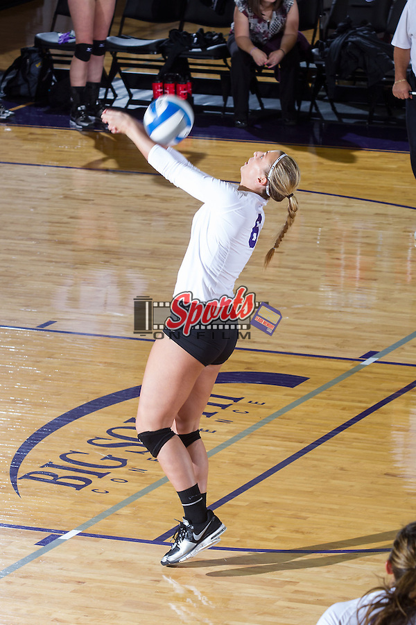Megan Kennedy (6) of the High Point Panthers digs the ball against the VCU Rams at Millis Athletic Center on September 17, 2013 in High Point, North Carolina.  The Rams defeated the Panthers 3-0.   (Brian Westerholt/Sports On Film)