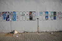23 ottobre 2011 Tunisi, elezioni libere per l'Assemblea Costituente, le prime della Primavera araba: cartelloni elettorali dei vari partiti candidati.<br /> premieres elections libres en Tunisie octobre <br /> tunisian elections