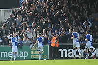 CELE - Bristol Rovers' Chris Lines celebrates scoring his side's equalising goal to make the score 1-1 in the dying seconds <br /> <br /> Photographer Ashley Crowden/CameraSport<br /> <br /> The EFL Sky Bet League One - Bristol Rovers v Blackburn Rovers - Saturday 14th April 2018 - Memorial Stadium - Bristol<br /> <br /> World Copyright &copy; 2018 CameraSport. All rights reserved. 43 Linden Ave. Countesthorpe. Leicester. England. LE8 5PG - Tel: +44 (0) 116 277 4147 - admin@camerasport.com - www.camerasport.com