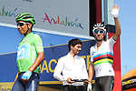 Green Jersey Nairo Quintana (COL) and World Champion Alejandro Valverde (ESP) Movistar Team at sign on before Stage 8 of La Vuelta 2019 running 166.9km from Valls to Igualada, Spain. 31st August 2019.<br /> Picture: Luis Angel Gomez/Photogomezsport | Cyclefile<br /> <br /> All photos usage must carry mandatory copyright credit (© Cyclefile | Luis Angel Gomez/Photogomezsport)