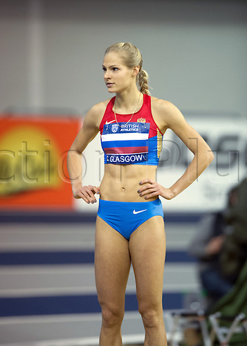 26.01.2013 Glasgow, Scotland. Darya Klishina during the International British Athletics Match from the Emirates Arena.