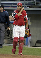 August 6, 2004:  Catcher Jason Jaramillo of the Batavia Muckdogs, Short-Season Single-A affiliate of the Philadelphia Phillies, during a game at Dwyer Stadium in Batavia, NY.  Photo by:  Mike Janes/Four Seam Images