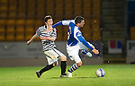St Johnstone v Queens Park....25.09.12      Scottish Communities League Cup 3rd Round.Andrew Robertson fouls Gary Miller and is shown a harsh red card.Picture by Graeme Hart..Copyright Perthshire Picture Agency.Tel: 01738 623350  Mobile: 07990 594431