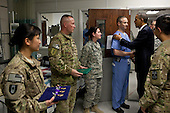 United States President Barack Obama greets hospital personnel in the ICU at Bagram Air Field, Afghanistan, May 1, 2012. The President presented ten Purple Hearts, three in the ICU..Mandatory Credit: Pete Souza - White House via CNP