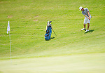MUSCLE SHOALS, AL - MAY 25: Lynn's Carlos Bustos chips onto the 17th green during the Division II Men's Team Match Play Golf Championship held at the Robert Trent Jones Golf Trail at the Shoals, Fighting Joe Course on May 25, 2018 in Muscle Shoals, Alabama. Lynn defeated West Florida 3-2 to win the national title. (Photo by Cliff Williams/NCAA Photos via Getty Images)