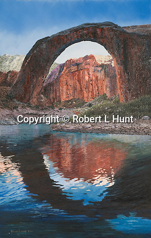 "The naturally formed stone arch Rainbow Bridge at Lake Powell, Utah, sacred site to the Pueblo, Paiute, and Navajo American Indians. Oil on canvas, 28"" x 18""."