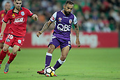 November 4th 2017, nib Stadium, Perth, Australia; A-League football, Perth Glory versus Adelaide United; Diego Castro of the Perth Glory runs with the ball during the second half