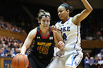 11 February 2013: Maryland's Katie Rutan (40) and Duke's Chloe Wells (4). The Duke University Blue Devils played the University of Maryland Terrapins at Cameron Indoor Stadium in Durham, North Carolina in an NCAA Division I Women's Basketball game. Duke won the game 71-56.