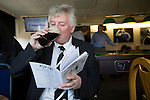 A visiting club official enjoys a pre-match drink the the bar at the ground before East Stirlingshire took on Edinburgh City in the second leg of the Scottish League pyramid play-off at Ochilview Park, Stenhousemuir. The play-offs were introduced in 2015 with the winners of the Highland and Lowland Leagues playing-off for the chance to play the club which finished bottom of Scottish League 2. Edinburgh City won the match 1-0 giving them a 2-1 aggregate victory making them the first club in Scottish League history to be promoted into the league.