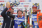 Ski exhibition Alpine Rock Fest 2013 in Trento<br /> <br /> Winner of the ARF 2013 USA's Ted Ligety (C) and Aksel Lund Svindal (NOR) right at the podium of the Alpine Rock Fest on 23/12/2013 in Andalo, Italy. <br /> <br /> Photo &copy; Daniele Mosna / Teyssot<br /> <br /> www.pierreteyssot.com