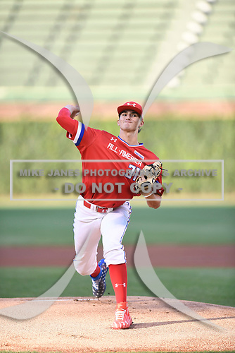 Ethan Hankins (31) of Forsyth Central High School in Cumming, Georgia during the Under Armour All-American Game presented by Baseball Factory on July 29, 2017 at Wrigley Field in Chicago, Illinois.  (Mike Janes/Four Seam Images)
