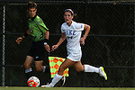 17 September 2015: Duke's Morgan Reid (24) and Assistant Referee Javier Rodriguez. The Duke University Blue Devils hosted the Appalachian State University Mountaineers at Koskinen Stadium in Durham, NC in a 2015 NCAA Division I Women's Soccer match. Duke won the game 6-0.