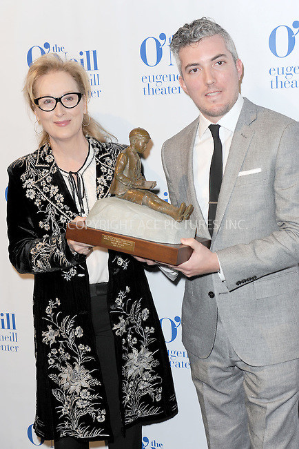 WWW.ACEPIXS.COM<br /> April 21, 2014 New York City<br /> <br /> Honoree actress Meryl Streep poses with 14th Annual Monte Cristo Award presented to her by Executive Director at Eugene O'Neill Theater Center, Preston Whiteway, as she arrives at the Eugene O'Neill Theater Center event at the Edison Ballroom on April 21, 2014 in New York City.<br /> <br /> By Line: Kristin Callahan/ACE Pictures<br /> ACE Pictures, Inc.<br /> tel: 646 769 0430<br /> Email: info@acepixs.com<br /> www.acepixs.com