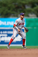 Auburn Doubledays shortstop Jose Sanchez (9) during a game against the Batavia Muckdogs on September 1, 2018 at Dwyer Stadium in Batavia, New York.  Auburn defeated Batavia 10-5.  (Mike Janes/Four Seam Images)
