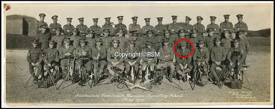 BNPS.co.uk (01202 558833)<br /> Pic: RSM/BNPS<br /> <br /> AA Milne (circled) with other Signals instructors at Portsmouth Garison Signalling School, 1917.<br /> <br /> A book of writings co-authored by AA Milne colourfully reflecting on his time spent as a First World War propagandist is being displayed for the first time ever. <br /> <br /> 'The Green Book' was written by the Winnie the Pooh author and fellow members of MI7b - a little-known intelligence branch of the War Office that produced propaganda. <br /> <br /> When the war ended officials attempted to destroy all traces of the secret department but four years ago 150 documents were unearthed inside the attic of one of its members. <br /> <br /> Now the ultra-rare copy, which is one of only two that exist, has been placed on display at the Royal Signals Museum in Blandford, Dorset.