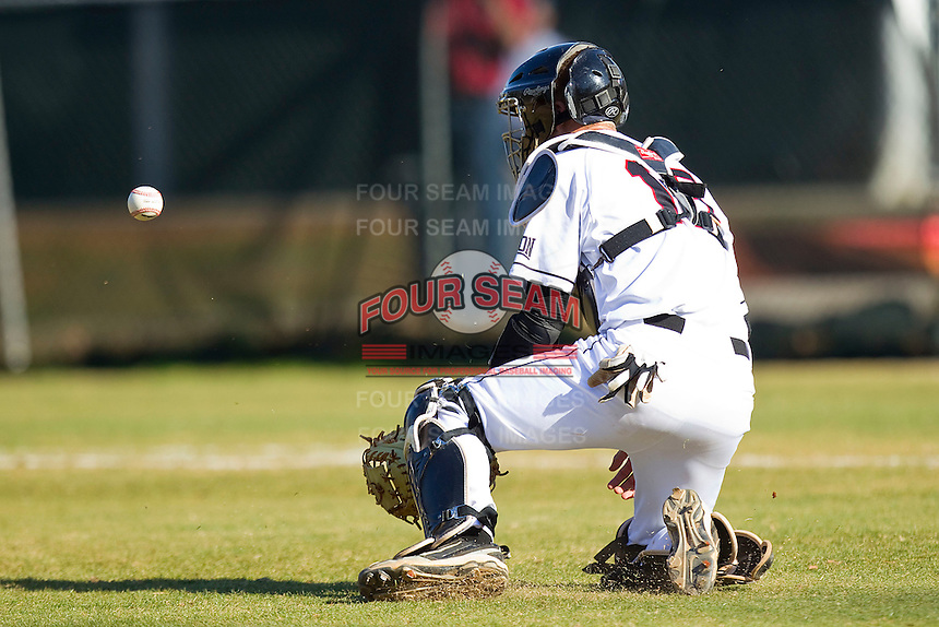 Catcher Daniel Gerow #15 of the Davidson Wildcats blocks a throw from the outfield during the game against the College of Charleston Cougars at Wilson Field on March 12, 2011 in Davidson, North Carolina.  The Wildcats defeated the Cougars 8-3.  Photo by Brian Westerholt / Four Seam Images