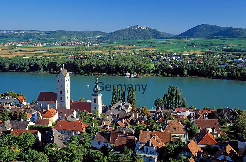 Austria, Lower Austria, Wachau, Stein at the Danube, Benedictine Monastery Goettweig in the background