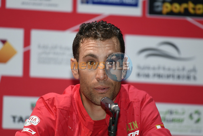 The 2019 UAE Tour Vincenzo Nibali (ITA) Bahrain Merida spoke to the media this afternoon in Louvre Abu Dhabi, United Arab Emirates. 23rd February 2019.<br /> Picture: LaPresse/Fabio Ferrari | Cyclefile<br /> <br /> <br /> All photos usage must carry mandatory copyright credit (© Cyclefile | LaPresse/Fabio Ferrari)